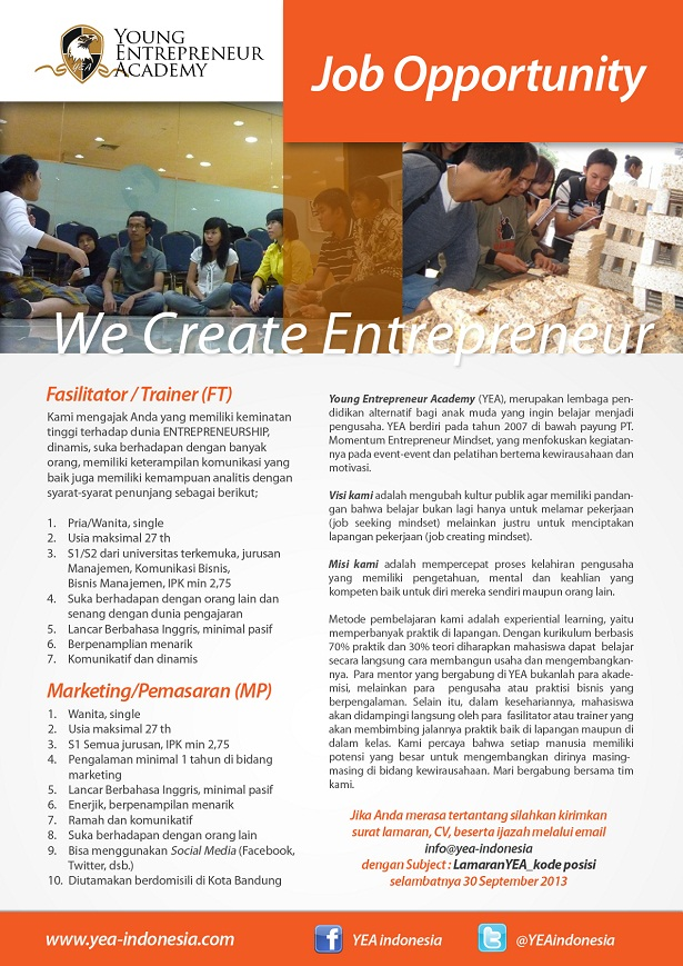 Job Opportunity Fasilitator dan Marketing